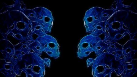 skulls, neon, color