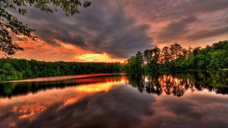 sky, lake, trees