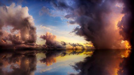 sky, lake, water