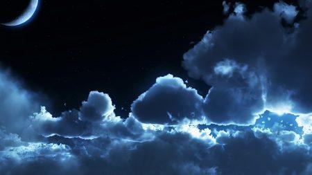 sky, night, clouds
