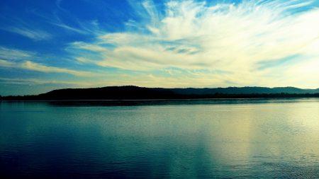 sky, sea, mountains