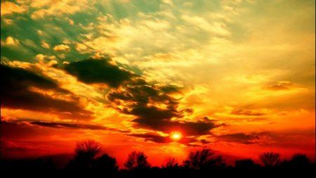 sky, sun, decline