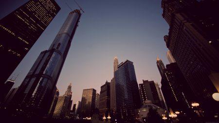 skyscrapers, night, building