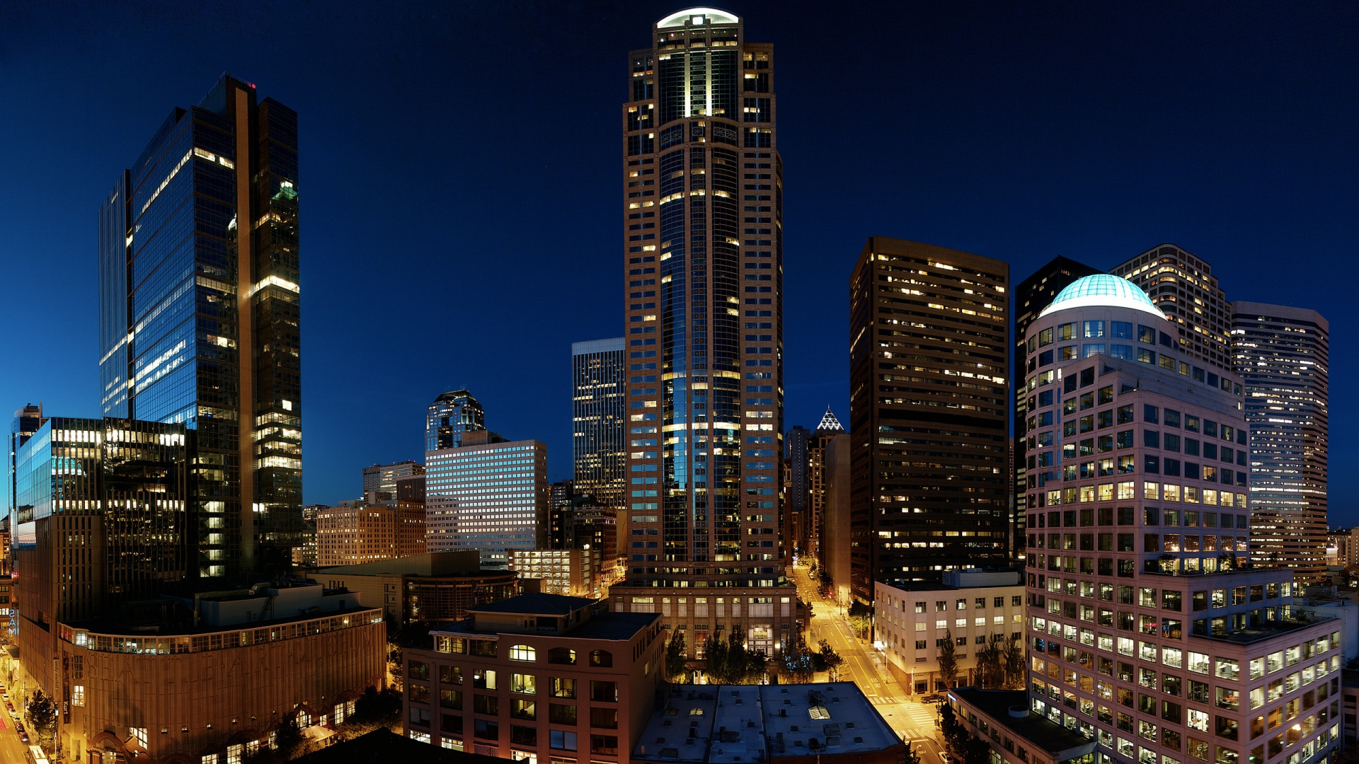 Download Wallpaper 1920x1080 Skyscrapers Night Seattle Full Hd 1080p Hd Background