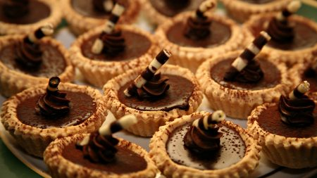small baskets, tubules, chocolate