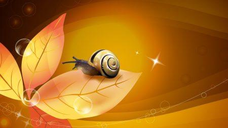 snail, leaf, fall