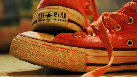 sneakers, old, red