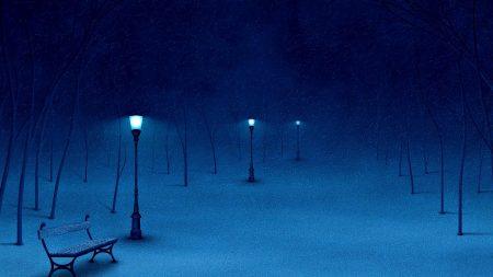 snow, bench, winter