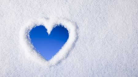 snow, heart, background