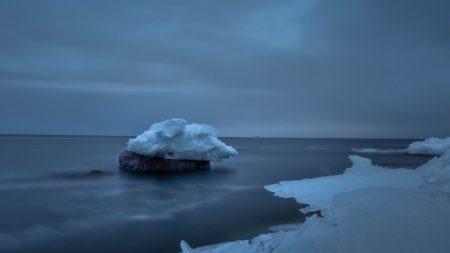 snow, sea, stone