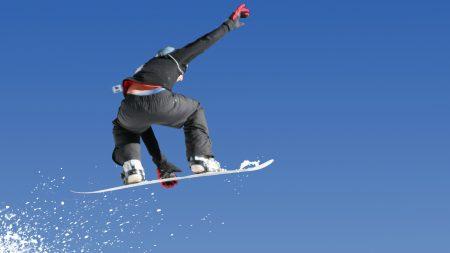snowboard, jump, back