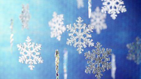 snowflakes, glitter, blue