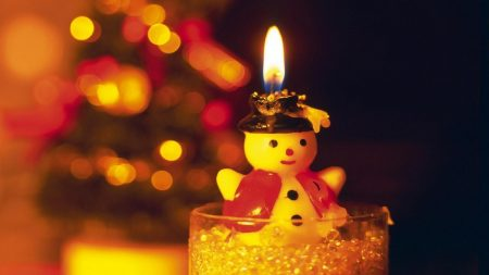 snowman, candle, fire
