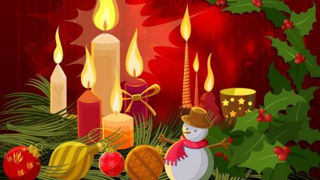 snowman, candles, needles