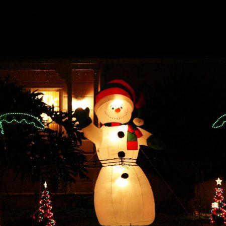 snowman, night, ornaments