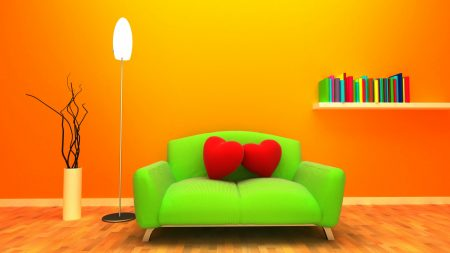 sofa, heart, room