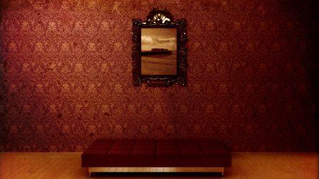 sofa, painting, wall