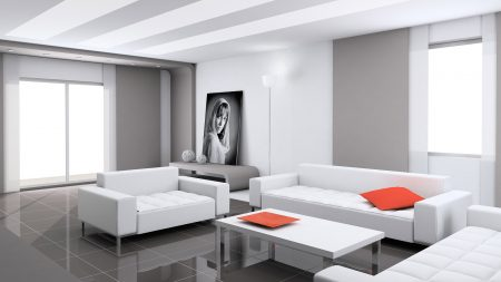 sofa, table, painting