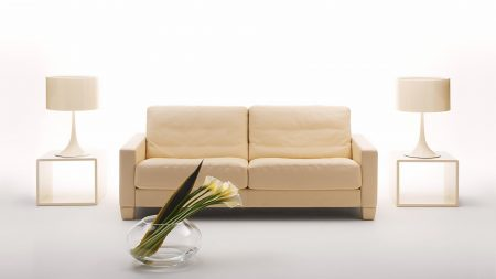 sofa, tables, flowers