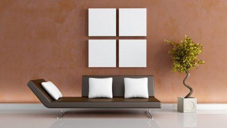 sofa, wall, vase