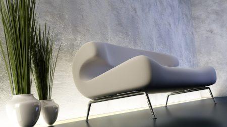 sofa, white, stylish