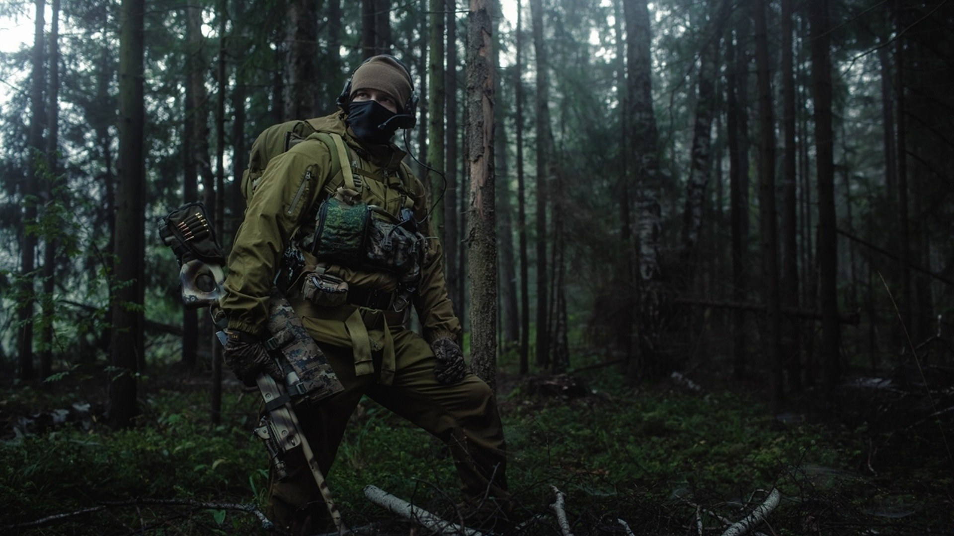 Download Wallpaper 1920x1080 soldiers, forest, bomb, search
