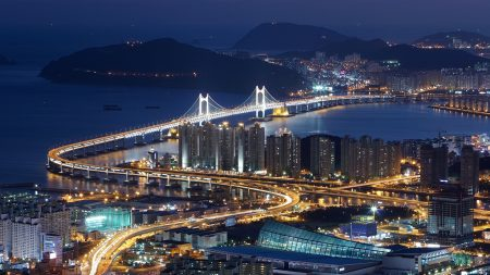 south korea, busan, top view
