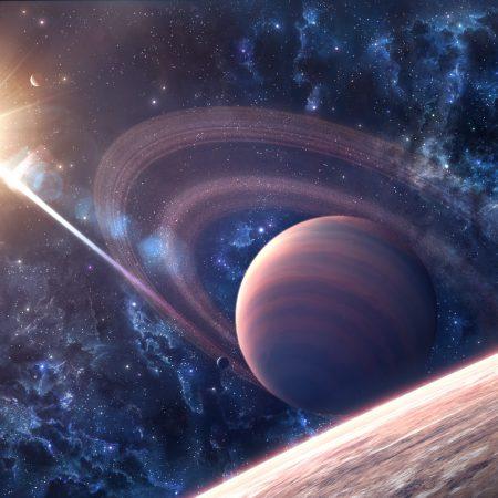 space, galaxy, saturn