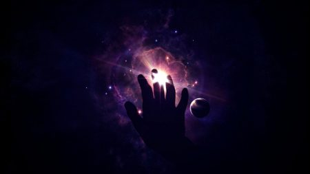 space, star, hand