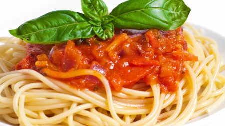 spaghetti, dish, vegetables