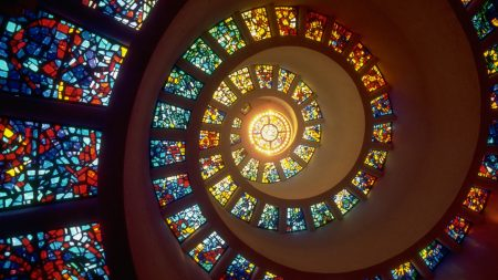 spiral, light, stained glass