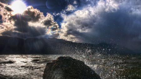 splashes, sun, stone