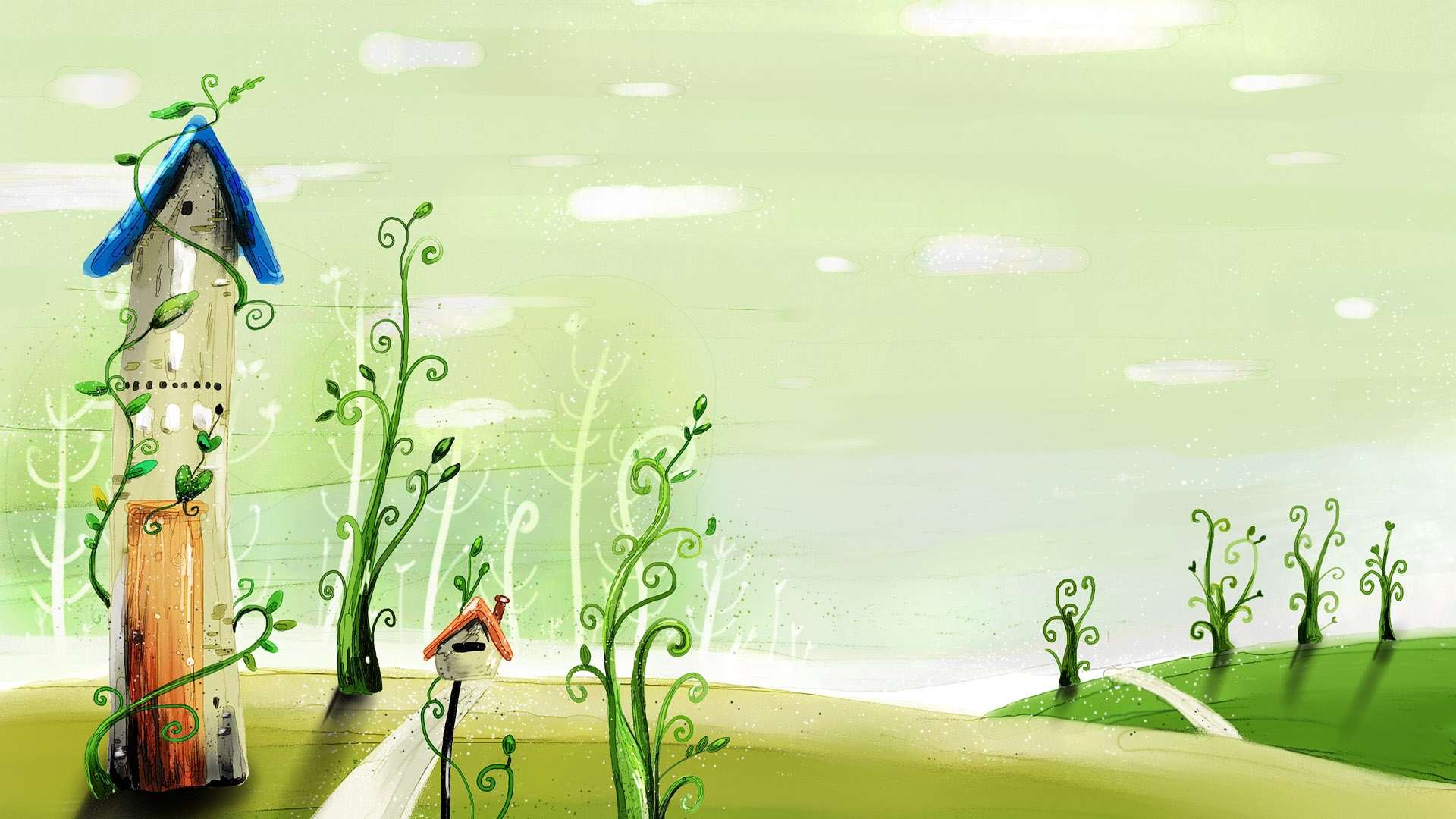 Download Wallpaper 1920x1080 Spring Drawing Cartoon Building Grass Full Hd 1080p Hd Background