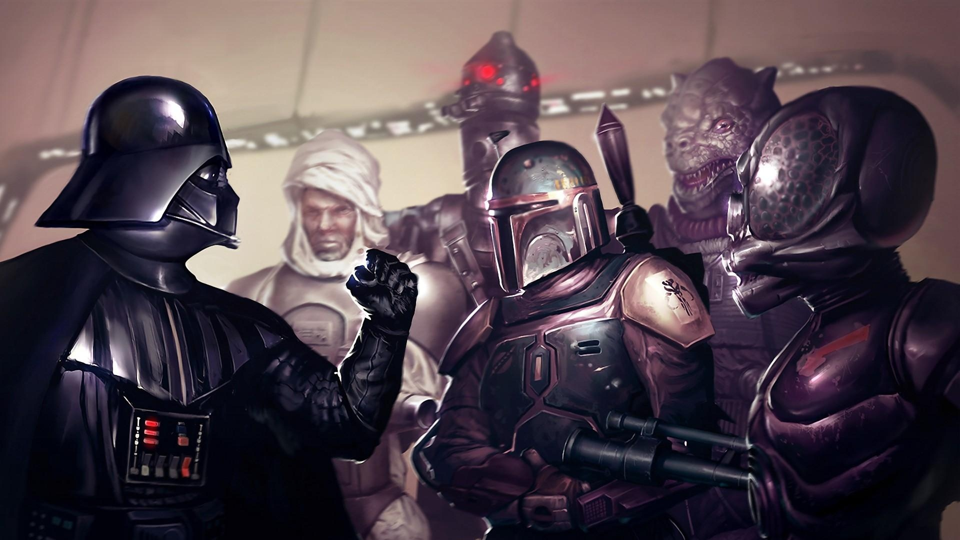 Download Wallpaper 1920x1080 Star Wars Darth Vader Boba Fett Fist Full Hd 1080p Hd Background