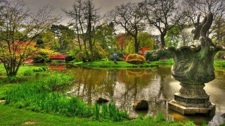 statue, dragon, pond
