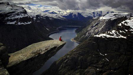 stone ledge, mountain, open