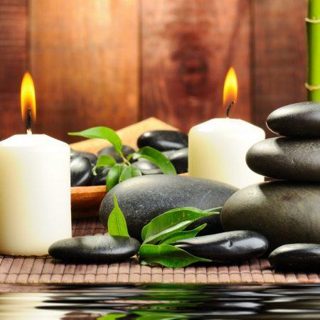 stones, candles, aromatherapy