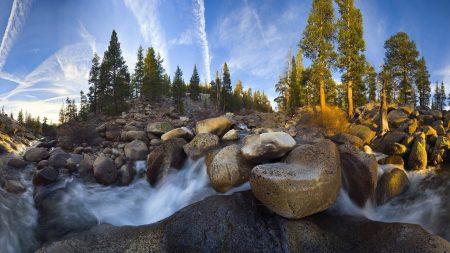 stones, river, mountain
