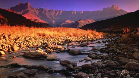 stones, river, mountains