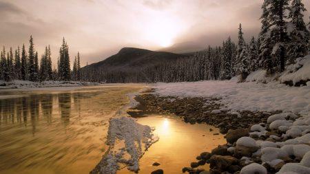 stones, snow, river