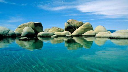 stones, water, blue