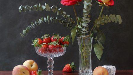 strawberries, peaches, flowers