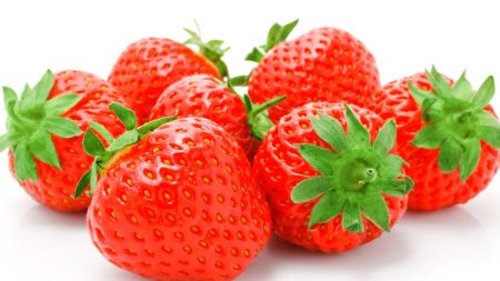 strawberry, berry, white background