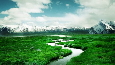 stream, mountains, valley