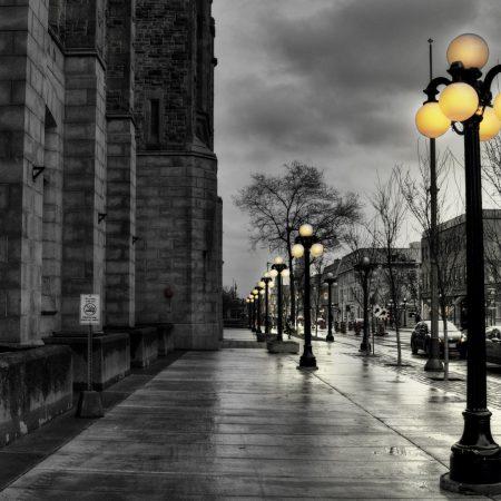 street, city, evening