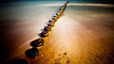 stubs, sand, coast