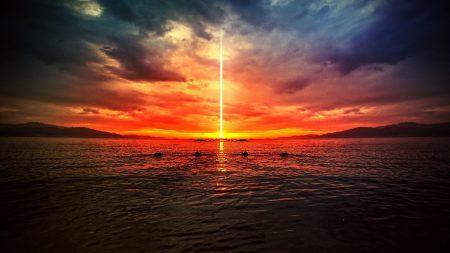 sun, beam, sky