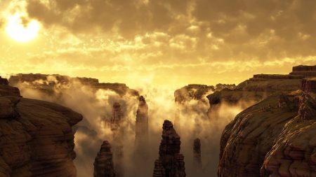 sun, canyons, fog