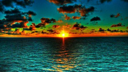 sun, clouds, horizon