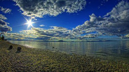 sun, light, stones